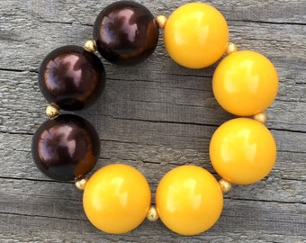 Mustard and Brown Bracelet, Mustard Yellow Jewelry, Chunky Necklaces, Girls Chunky Bracelet, Mustard Jewelry, Toddler Jewelry
