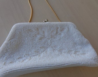 Purse -  beautiful white beaded clutch purse from Japan with convertable snakechain handle