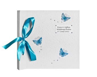 Personalized Blue Butterfly Wedding Photo Album