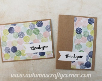 Thank You - Thanks - Homemade Card - Set of 2 - SEWN