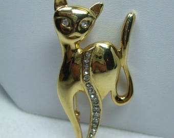 SALE 50% OFF Vintage rhinestone cat brooch Goldtone