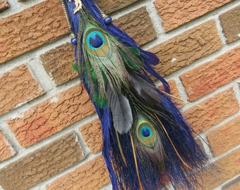 Witch's Broom in Lusciuos Blue Peacock Feathers, Altar Broom, Witchcraft, Wicca, Besom Broom, Witch Altar, Pagan Altar, Peacock Totem