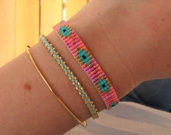 Pink Glass Beaded Loom Evil Eye Bracelet with Tassel - Blue Evil Eye Bracelet