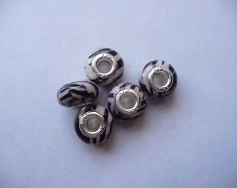 Acrylic resin zebra stripe large hole with silver core spacer beads.  Pack of 5.