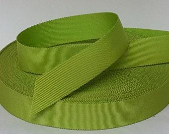 "Green Chartuese Petersham Grosgrain 1"" Antique Vintage Ribbon 1950's"