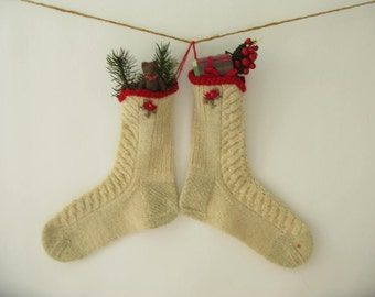 Vintage Wool Christmas Stocking, ski socks, sock, cream, ivory, holiday decor, Latvia