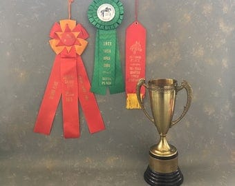 Vintage Horse Ribbons, green, red,  gold, winner, horse show, prize
