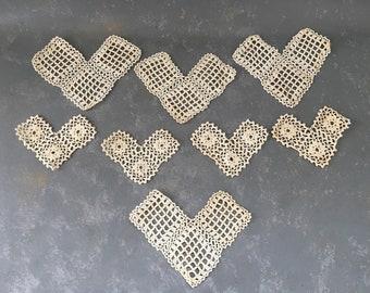 Vintage Lace Crocheted Hearts, Bits, doilies, crochet, doily, pieces