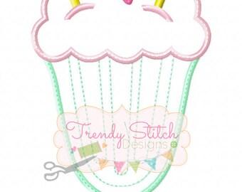 Milkshake Heart Applique Design Machine Embroidery Design INSTANT DOWNLOAD Icecream