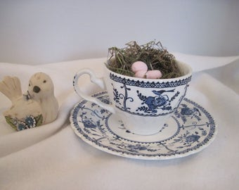 Indies Cup & Saucer by Johnson Bros, England with Bird Nest and Clay Eggs