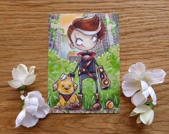 PRINT ACEO - Elroy and Miss Fluff
