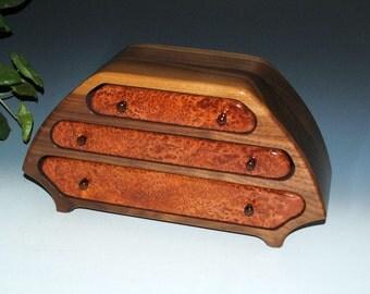 "Handmade Walnut ""Eric"" Wood Jewelry Box with Redwood Burl-Large Wooden Jewelry Box, Men's Wood Jewelry Box,Jewelry Box Man, Burl Jewelry Box"