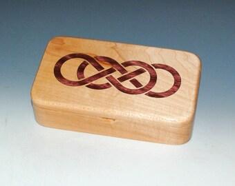 Handmade Wood Box-Maple With Laser Inlay Double Infinity Symbol - Stash Box, Celtic Knot Box, Jewelry Box, Treasure Box, Wood Jewelry Boxes