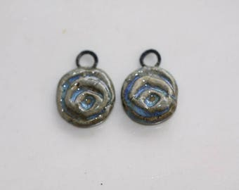 Ceramic components earring components ceramic  pendants clay charms clay art Beads earthy organic jewelry components supplies potterygirl