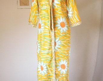 HAWAIIAN Vintage 60's Dress, Sheath, Maxi Dress, Yellow, Orange, Aqua and White, TIKI Oasis Size Small to Medium
