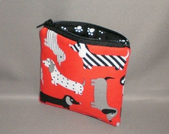 Coin Purse - Gift Card Holder - Card Case -Small Padded Zippered Pouch - Mini Wallet - Dogs - Dachshund - Doxie - Weenie Dog