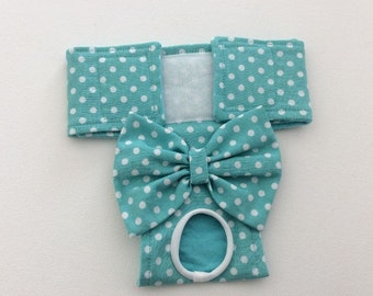 Female Dog Diaper - Britches - Dog Panty / Panties-Aqua with white polka dots - Available in all Sizes