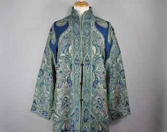 Women's Blue Green Paisley Boho Long Tunic Jacket, Vintage 90s, Ethnic Design, Bohemian Design, Hippie Jacket, Women's Size Large