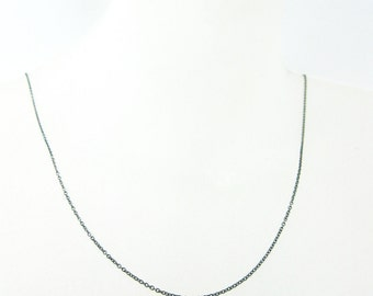 Oxidized Sterling Silver Chain- Tiny Plain Cable Chain - Oxidized Silver Necklace Chain, Cable Chain Necklace -16-36 inches - Sku: 601009-OX