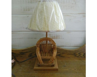 Bent Willow Chair Table Lamp - Rustic Cottage Decor