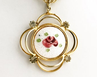Vintage Handpainted Rose Pendant Necklace Guilloche Gold and Rhinestone Victorian Style