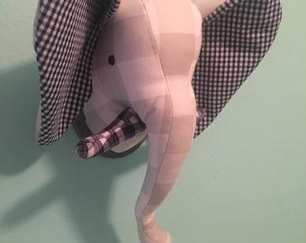 Custom-Made, Extra-Large, Wall-Mounted Stuffed Elephant Head, Faux Taxidermy