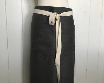 Half Apron Linen Man Woman Unisex Grey Linen