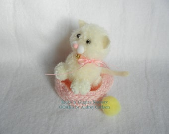 OOAK Mini Pom Pom Kitten Cat Kitty with Bed and Ball