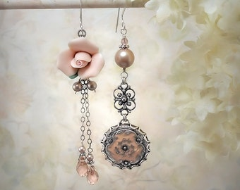 Ethereal Pink Rose Earrings Peach Flower Earrings Pink Asymmetrical Salmon Pink Earrings Floral Pink Wedding Pink Crystal and Pearl Earrings