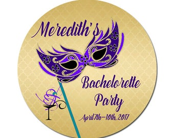 Custom Bachelorette Party Labels Personalized Mardi Gras Mask Cocktail Round Glossy Favor Stickers Birthdays Brides Weddings Any Occasion