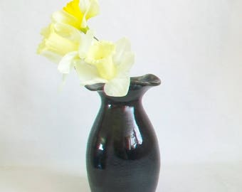Slate Vase - with Altered Rim  - Handmade on the Potters Wheel