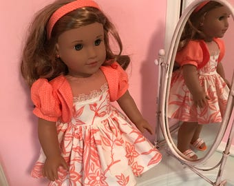 American Made Sun dress with jacket and matching shoes made to fit  18 inch  Doll