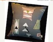 FAB SALE Retro Mambo Throw Pillow Cover - Grey Atomic Tiki - Chris Stone Barkcloth