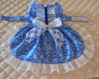 Christmas Med. Dog Dress Blue Swirls and Snowflakes Lace Bow Handmade Pets Clothing