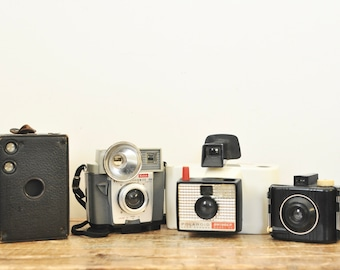 Vintage Camera Display Lot of Four Cameras Instant Collection Antique Box Baby Brownie Kodak Flashmite Polaroid Land Shinger Model 20
