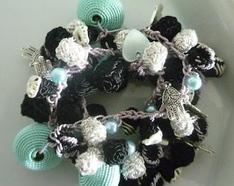 Moroccan art silk bead necklace/bracelet, black aqua and silver