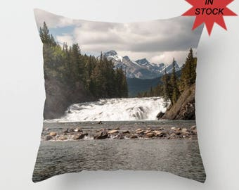 """16"""" Mountain Lodge Cushion Case, Banff Photography, Rustic Rock Home Decor, Accent Pillow Covers For A Cabin, Lake House, Bow Falls Alberta"""