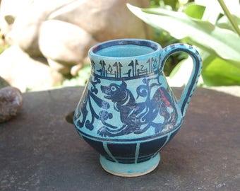 Wonderful Folk Art Rabbit, Lion, Dog Hand Painted Stylized European Medieval Yellow Wear / Sewer Tiles Ceramics / End of Day / Crockery Mug