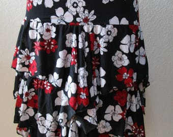 Black , Red and White Color Flower SKirt or tube dress with ruffled edging plus 3 layers detailing plus made in USA (v184)