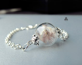 Bracelet with real dried gerbera flowers