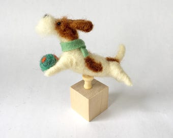 Needle Felted Bearded Jack Russell Terrier Dog on a Cube