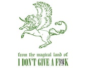 Wondrous Pegasus / Unicorn - 7 x10 Letterpress Art Print - MATURE Language - From the Magical Land of I Don't Give a F***!