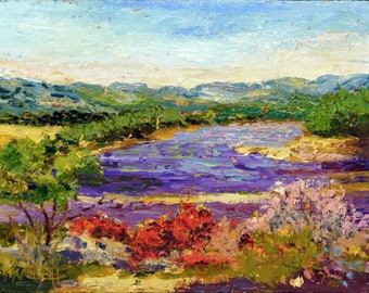 "Original Oil landscape painting, Provence Lavender, Provence landscape, Lavender Field, Palette Knife Painting - 7x10"" small format art"