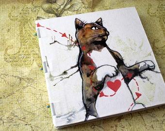 Handbound Art Journal Mixed Media Sketchbook - Cat Heart
