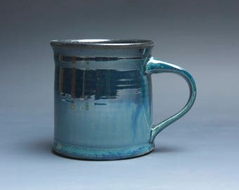 Sale - Pottery coffee mug, ceramic mug, stoneware tea cup navy blue 14 oz 3946