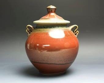 Handmade pottery cookie storage jar iron red 3999