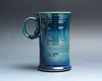 Pottery coffee mug, ceramic mug, stoneware tea cup navy blue 16 oz 4012