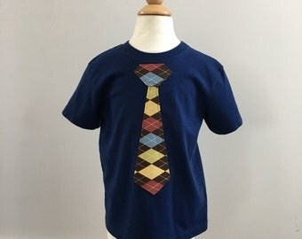 Toddler Shirt- Short Sleeve, Tie, Little Man Tie, Brown Argyle in Navy