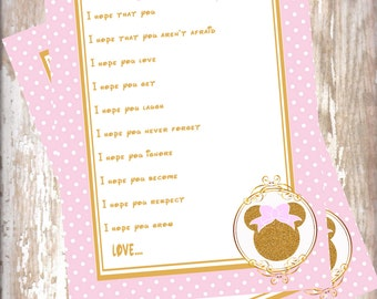 Minnie Mouse Pink and gold -Wishes for Baby cards -baby shower-new baby-blush and gold