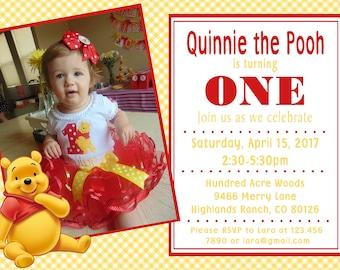 Winnie the Pooh  invitation - 1st birthday, baby shower, Disney,  birthday invitation